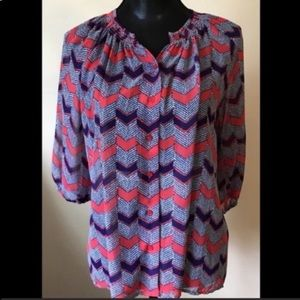 Collective Concepts Sheer Patterned Blouse